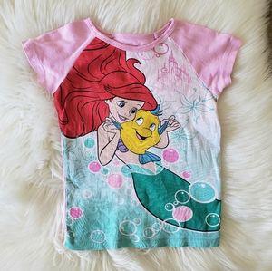 3/$20 Girl's Disney Ariel and Flounder Pink PJ Top